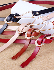Fashion Dark Coffee Multicolor Knotted Thin Belt