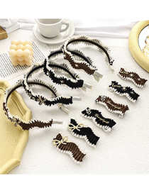 Fashion Black Number 5 Duckbill Clip Bow Folds Letter Pearl Hairpin