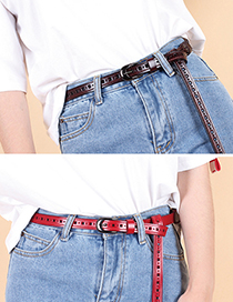 Fashion Coffee Hollow Printed Non-perforated Belt