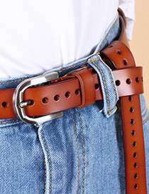 Fashion Coffee Pierced Hollow Belt With Pin Buckle