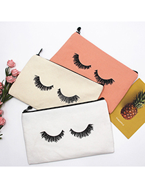 Fashion Pink Canvas Printed Pencil Case For Eyelashes