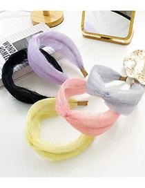 Fashion Gray Shiny Silk Solid Color Cross-knotted Headband