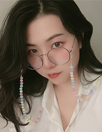 Fashion Color Acrylic Colorful Round Bead Glasses Chain