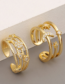 Fashion A Double-layer Copper Micro-inlaid Zircon Moon Ring