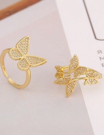Fashion A Copper Micro-inlaid Zircon Butterfly Ring