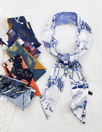 Fashion 31 Rose Letters Long Silk Scarf With Printed Tied Hair