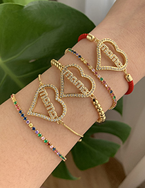 Fashion Red Copper Inlaid Zircon Letters Mama Love Braided Bracelet