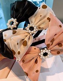 Fashion Black Polka Dot Bow Pearl Headband