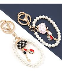 Fashion Black Alloy Diamond Lipstick Handbag Pendant