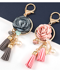 Fashion Pink Alloy Fabric Flower Pearl Pendant