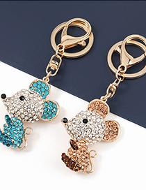 Fashion Rose Gold Alloy Diamond Mouse Pendant