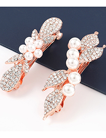Fashion Five Pearls Alloy Diamond And Pearl Flower Hairpin