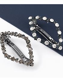 Fashion Black Diamond-shaped Alloy Diamond-studded Acrylic Geometric Hairpin