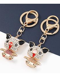 Fashion Rose Gold Alloy Oil Drop Diamond Cartoon Piggy Pendant