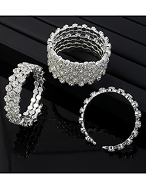 Fashion Section 3 Three Rows And Six Rows Of Diamond Open Bracelet