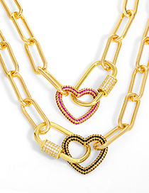 Fashion Green Thick Chain Geometric Lock Oval Love Necklace