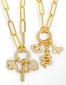 Fashion A Cross Love Snake Eye Necklace
