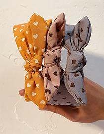 Fashion Yellow Peach Heart Love Cloth Wide-brimmed Rabbit Ears Headband