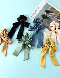 Fashion Yellow Silk Cloth Art Pure Color Streamer Bow Hair Ring