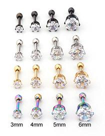 Fashion Silver Six Prong Round Zircon Stainless Steel Pierced Earrings