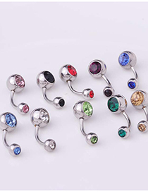 Fashion White Piercing Stainless Steel Body Belly Nail Abdomen Double Drill Belly Button Nail Umbilical Ring