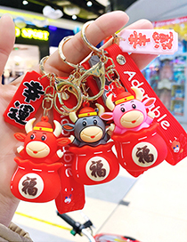 Fashion Tang Suit-yellow Cartoon Blessed Cow Doll Keychain