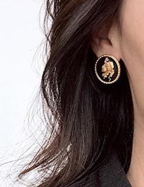 Fashion Golden Alloy Portrait Round Earrings