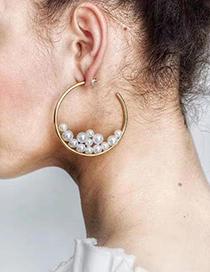 Fashion Golden Alloy Pearl Geometric Stud Earrings