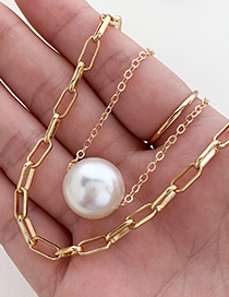 Fashion Golden Alloy Chain Double Pearl Necklace