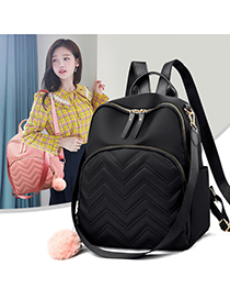 Fashion Pink Embroidery Line Rhombus Backpack
