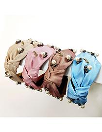 Fashion Beige Nail Pearl Alphabet Alloy Fabric Headband