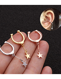 Fashion Rose Gold Micro-set Zircon Five-pointed Star Earrings