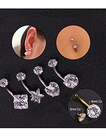 Fashion Golden Square Stainless Steel Zircon Belly Button Nail