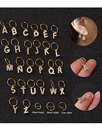 Fashion A Silver 6mm English Alphabet Stainless Steel Zircon Earrings