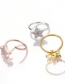 Fashion Silver Crown Micro-set Zircon Five-pointed Star Crown Flower Earrings