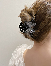 Fashion Gray Large Butterfly Full Rhinestone Clamp