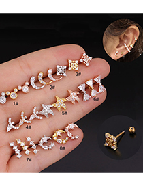 Fashion Silver 1# Pierced Five-pointed Star Stainless Steel Earrings