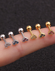 Fashion Golden Rose Mini Small Love Color Zircon Stainless Steel Earrings
