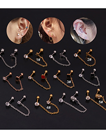 Fashion 5#gold Chain Five-pointed Star Zircon Stainless Steel Earrings