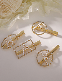 Fashion D Round K Side Letter Pearl Hairpin
