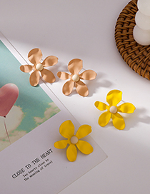 Fashion A Yellow Color Metal Flower Earrings