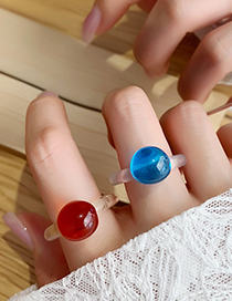 Fashion F Gray Jelly Ball Resin Transparent Ring