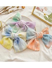Fashion Yellow Blue Bow Chiffon Tie Dye Hairpin