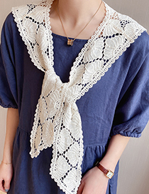 Fashion Camel Floral Knotted Cotton And Linen Shawl