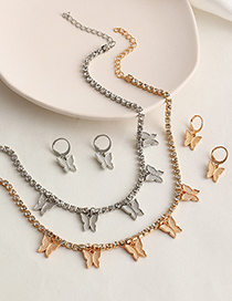 Fashion Silver Color Butterfly Earring Necklace Set