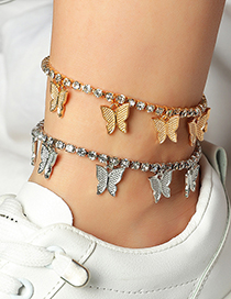 Fashion Silver Color Butterfly Anklet With Diamond Claw Chain