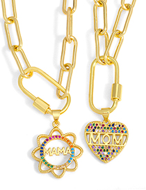 Fashion B Mama Letter Flower Necklace