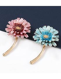 Fashion Pink Alloy Drop Oil Small Daisy Flower Brooch