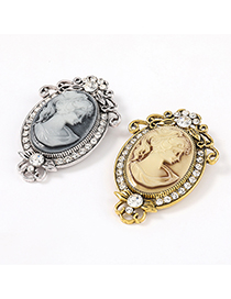 Fashion Silver Color Alloy Embossed Resin Portrait Brooch With Diamonds