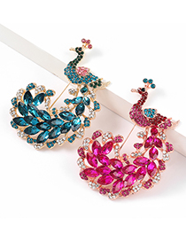 Fashion Rose Red Alloy Diamond Peacock Brooch